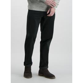 Forest Green Straight Fit Corduroy Trousers With Stretch