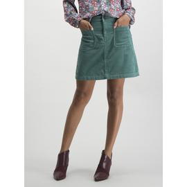 Teal Corduroy Patch Pocket A-Line Mini Skirt