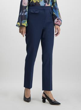 Navy Blue Textured Tapered Trousers