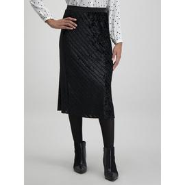 Black Velvet Stripe Midi Skirt