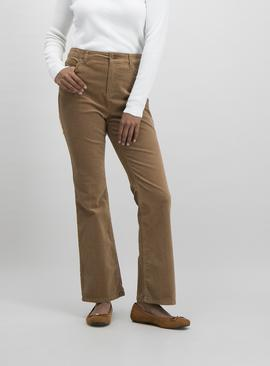 Light Brown Corduroy Kick Flare Jeans