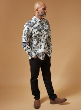PREMIUM Cream & Black Floral Slim Fit Stretch Shirt