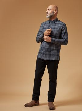 PREMIUM Grey Check Slim Fit Stretch Shirt