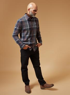 PREMIUM Navy & Tobacco Check Slim Fit Stretch Shirt