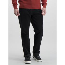 Charcoal Grey Straight Fit Corduroy Trousers With Stretch