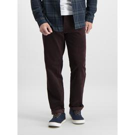 Dark Red Straight Fit Corduroy Trousers With Stretch