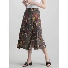 Multicoloured Bird Print Midi Jersey Skirt