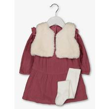 Mauve Muslin Dress, Tights & Gilet Set