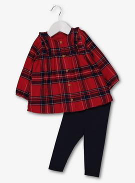 Red Check Top & Navy Leggings Set