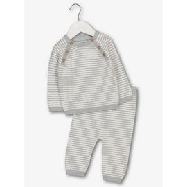 Grey Striped Knitted 2 Piece Set