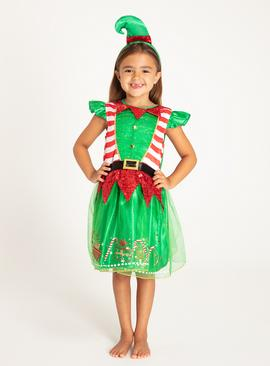Christmas Green Miss Elf Dress & Headband Set - 9-10 years