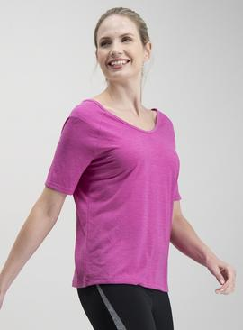 Active Pink Cross Back Quick Dry T-Shirt