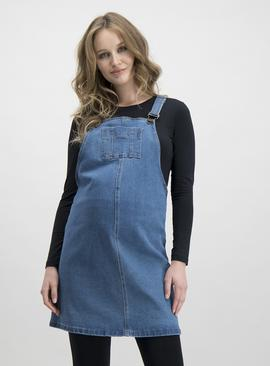 Online Exclusive Maternity Blue Denim Pinafore
