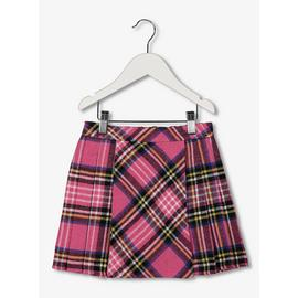 Pink Check Pleated Skirt