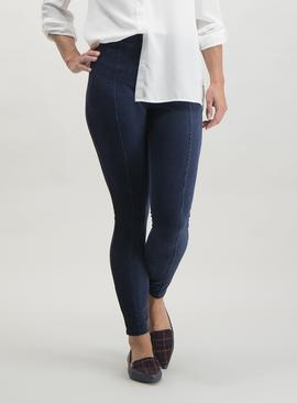 Navy Blue Corduroy Leggings With Stretch