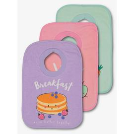 Multicoloured Pastel Breakfast, Lunch & Dinner Bib 3 Pack -