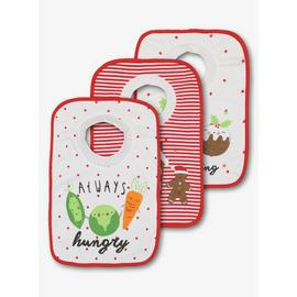 Christmas Multicoloured Pop-Over Bib 3 Pack - One Size