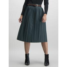 Dark Green Pleated Faux Leather Midi Skirt
