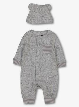 Grey Snit Romper With Hat