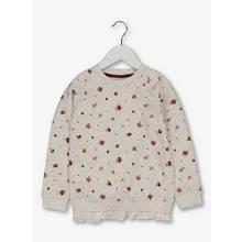 Oatmeal Floral Print Sweatshirt With Frill Hem