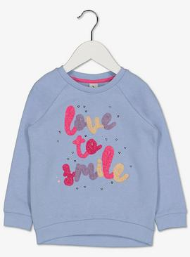 Pale Blue 'Love To Smile' Sweatshirt