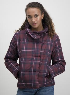 Purple & Navy Fashion Check Padded Short Jacket