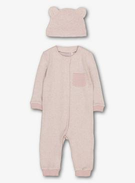 Pink Snit Romper With Hat