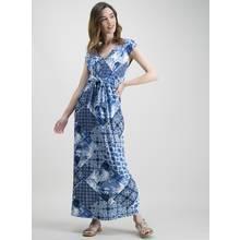 Blue & White Patch Print Tie Front Maxi Dress