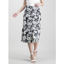 Monochrome Floral Print Button-Through Skirt