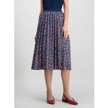 Navy & Red Diamond Print Pleated Midi Skirt