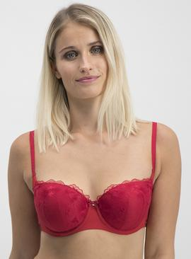 Red Floral Delicate Embroidered Balcony Bra
