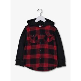 Red Check Hoodie Shirt