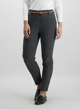 Brown Check Tapered Leg Belted Trousers