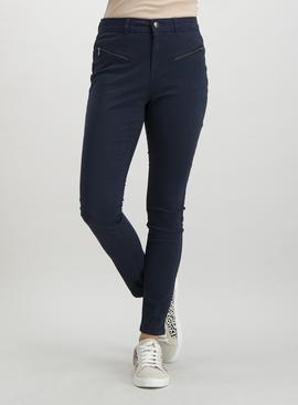 Dark Navy Zip Detail Skinny Jeans