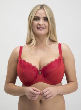 DD+ Red Embroidered Full Cup Bra