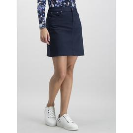 Navy Cotton Twill Mini Skirt