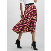 Multicoloured Stripe Pleated Midi Skirt