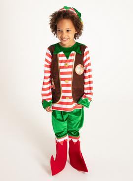 Christmas Multicoloured Elf Costume - 9-10 years