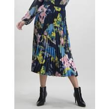 Navy Watercolour Print Pleated Midi Skirt