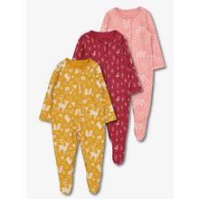 Multicoloured Deer Print Sleepsuit 3 Pack