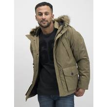 Stone Marl Short Parka With Faux-Fur Trim