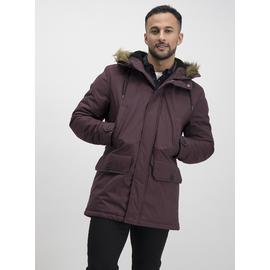 Burgundy Longer Length Parka With Faux-Fur Trim