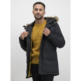 Black Longer Length Parka With Faux-Fur Trim
