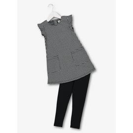 Monochrome Dogtooth Dress & Leggings Set