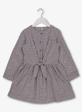 Grey Spotty Cord Dress With Tie Front