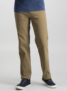 Sand Twill Straight Leg Jeans With Stretch