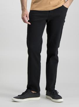 Black Twill Straight Leg Jeans With Stretch