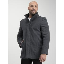 Grey Wool Blend Donegal Funnel Neck Coat