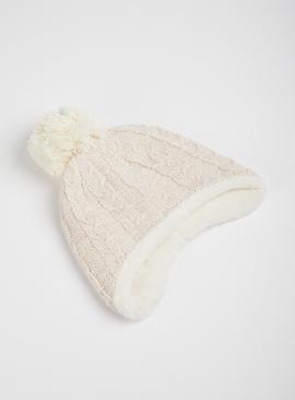 Cream & Pink Knitted Trapper Hat With Pom Pom