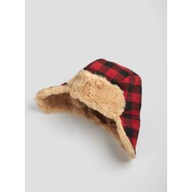 Christmas Red & Black Check Trapper Hat